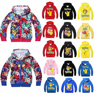 US-Kids-Girls-Boys-Pikachu-Cartoon-Hoodies-Jumper-Sweatshirt-Pokemon-Top-T-shirt