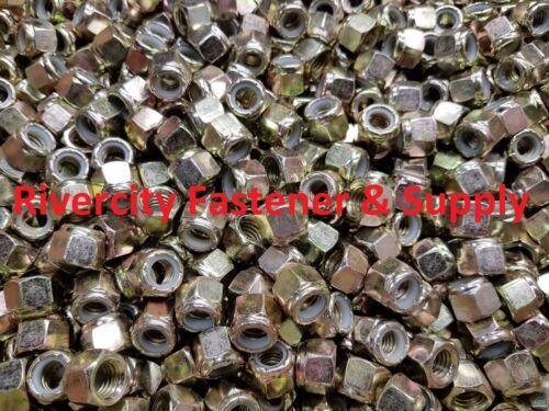 3//8-16 Coarse Thread Grade 8 Nylon Insert Hex Lock Stop Nut Yellow Zinc 100 pcs