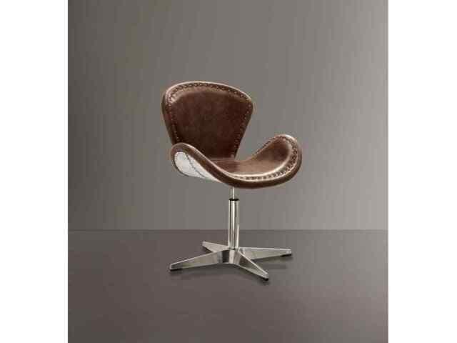 Terrific Aluminum Swivel Chair Top Grain Brown Leather Industrial Accent Seat Aviator New Short Links Chair Design For Home Short Linksinfo