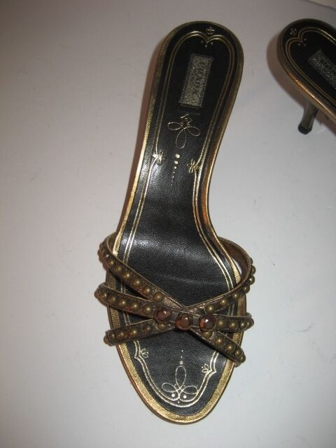 $495 Prada Calzature Donna Bronze Studs Shoes Sandals Once 36.5 6.5 M Worn Once Sandals Mint! e3c914