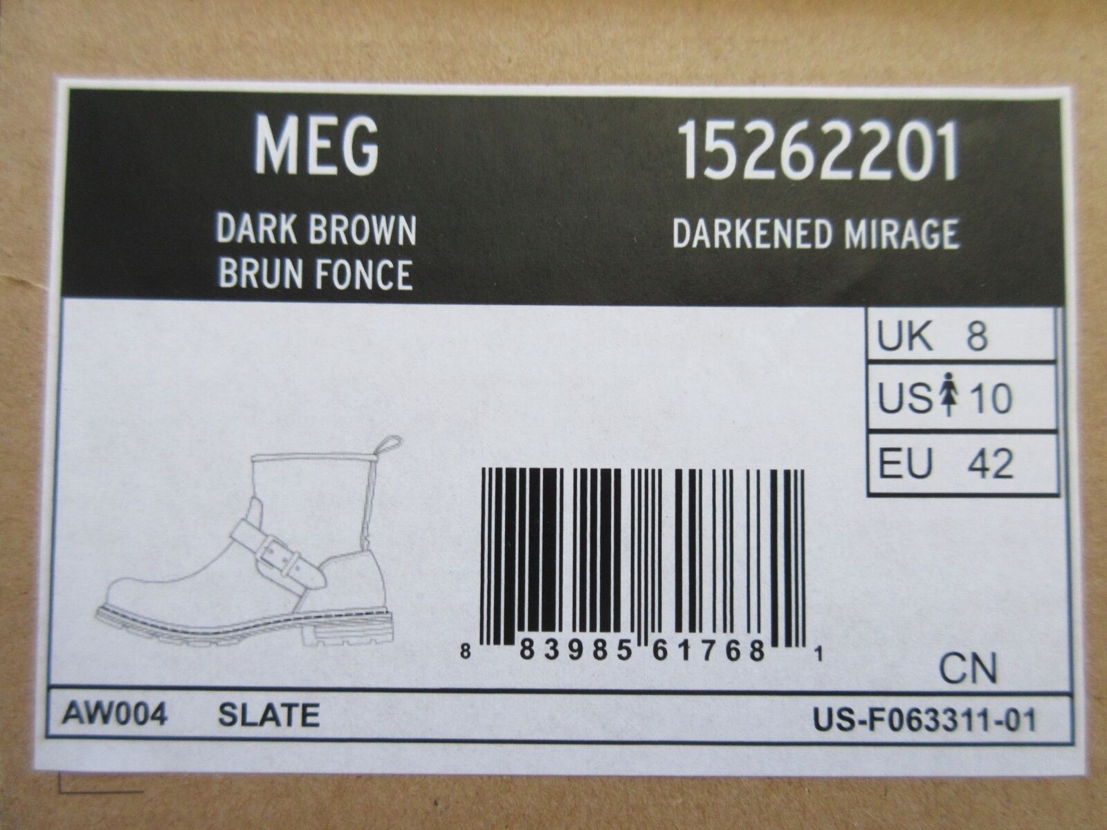 NIB DR. MARTENS MEG Darkened Mirage Leather Brown Ankle