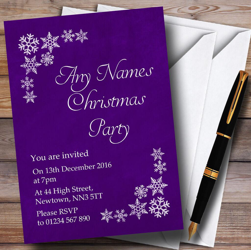 blancoo Copo De Nieve & púrpura Personalizado Invitaciones Fiesta De Navidad