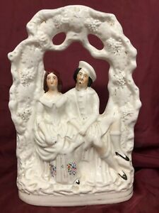 Staffordshire-Antique-Figurine-Of-Couple-039-s-Wedding-White-Late-1800-039-s