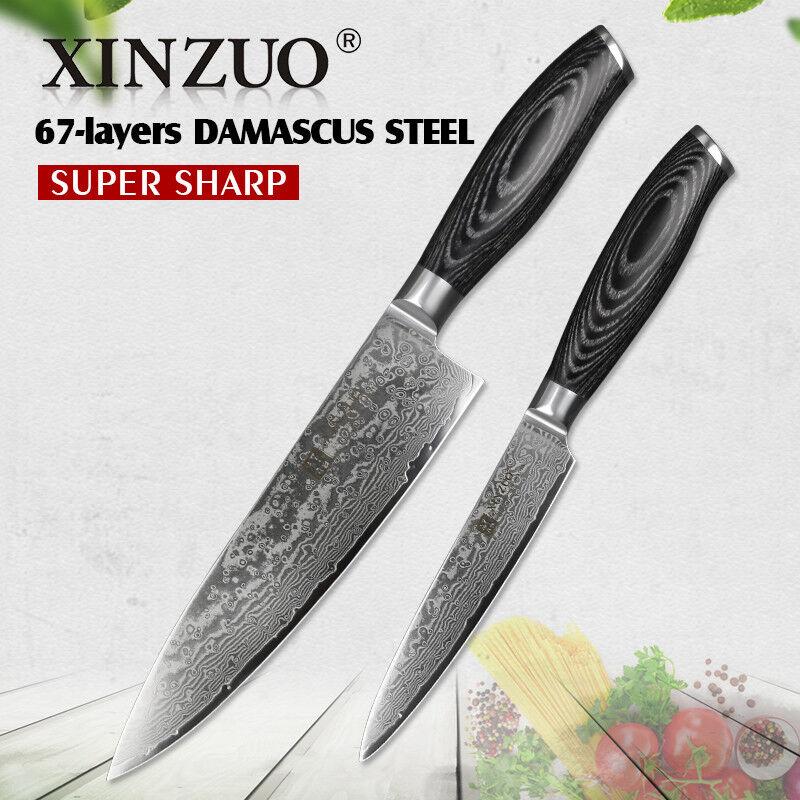 Kitchen Knife Set Kitchen Damascus Steel Chef Cleaver Santoku Boning Utility Cut