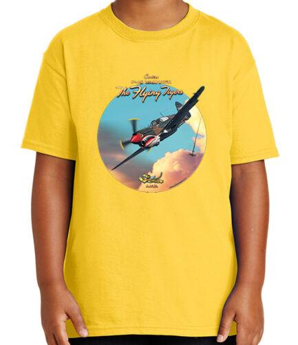 1686C P-40 Warhawk Kid/'s T-shirt American Hawk Flying Tiger Tee for Youth