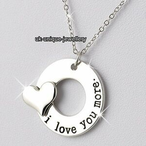 I love you necklaces heart silver pendant xmas promise gifts for her image is loading i love you necklaces heart silver pendant xmas aloadofball Choice Image