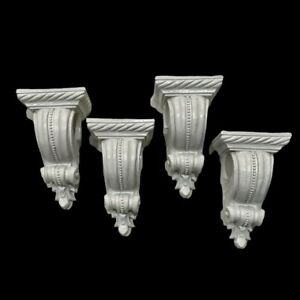 Lot-of-4-Scroll-Style-White-Wall-Corbel-Curtain-Rod-Holders-8-X-4-5