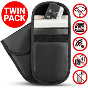2X-Car-Key-Signal-Blocker-Faraday-Cage-Fob-Pouch-Keyless-RFID-Blocking-Bag-G9C