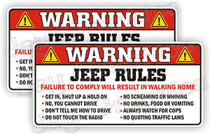 Jeep Rules Warning Stickers Funny Safety Instructions