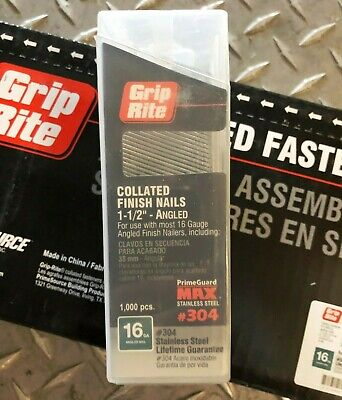 """Finish nail GripRite stainless MAXB64885 16ga 1-1//2/"""" angled collated"""