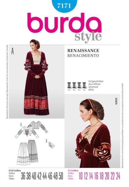 Burda Schnittmuster 7171 historisches Kleid Renaissance Gr. 36 - 50 ...