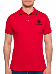 ROBERTO CAVALLI Premium EMBROIDED LOGO Accented Slim Fit Red POLO Shirt Size 2XL | eBay