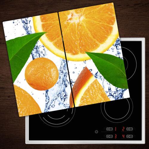 2x30x52 cm Herdabdeckplatten aus Glas Spritzschutz Orangen