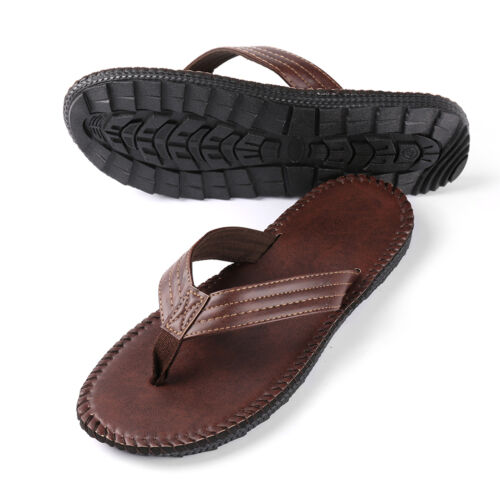 Brown Anti-slip Leather Men/'s Thong Flip-Flops Summer Beach Sandals Shoes 9-10
