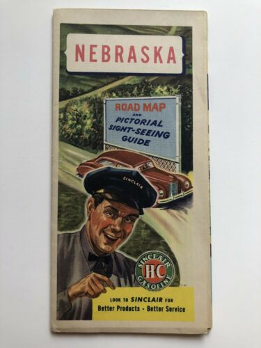 1940s Nebraska Road Map by Sinclair and Rand McNally PreInterstate HIghways