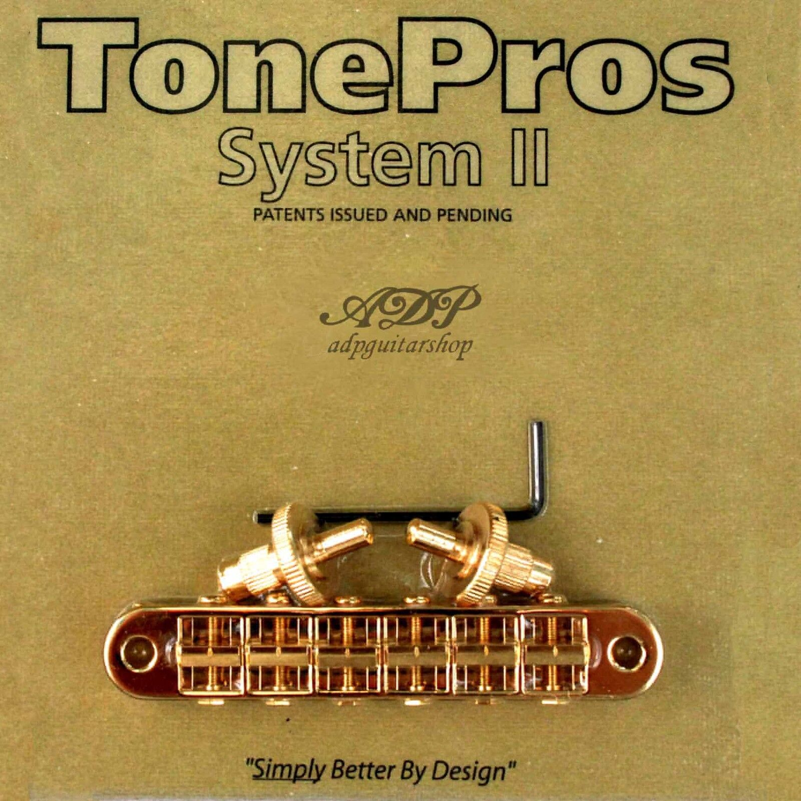 TonePros T3BP-G Chevalet Standard TuneOmatic Bridge Small POSTS Notched Saddles