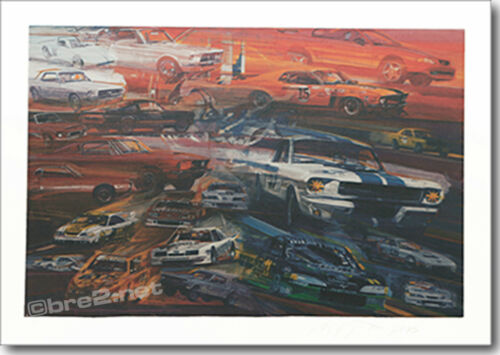 "REDUCED Ford Mustang Racers 24/""x18/"" signed by Peter Brock"