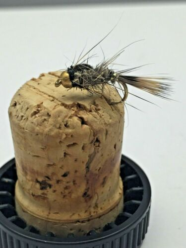 Fly Fishing PRIME collection GOLD BEAD-HEAD GRHE NATURAL X 12 fly pack size 14