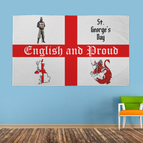 Details about  /English and Proud St Georges Day 5x3ft Banner Party Fun Novelty