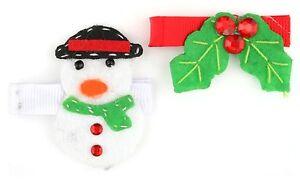 Modestil Zest 2 Festive Snowman & Holly Tie Pins Clips Slides White Red & Green