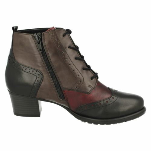 D3180 LADIES REMONTE LACE ZIP UP WARM FLEECE BROGUE LEATHER HEELED ANKLE BOOTS