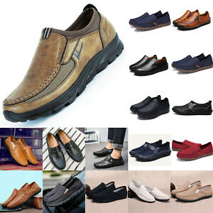 Men-039-s-Slip-On-Canvas-Leather-Zip-Casual-Driving-Shoes-Loafers-Moccasins-Trainers