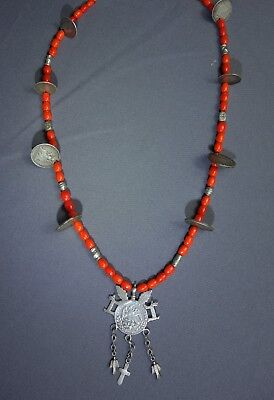 Vintage Guatemalan SilverCharmMayan ChachalTrade Beaded NecklaceFree Shipping!