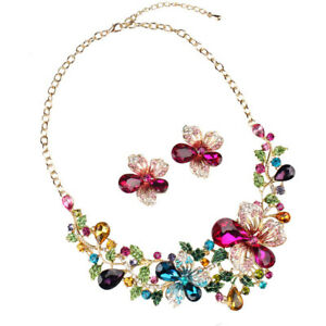 Bride-Jewelry-Sets-Party-Statement-Crystal-Flower-Necklace-and-Earrings-Set