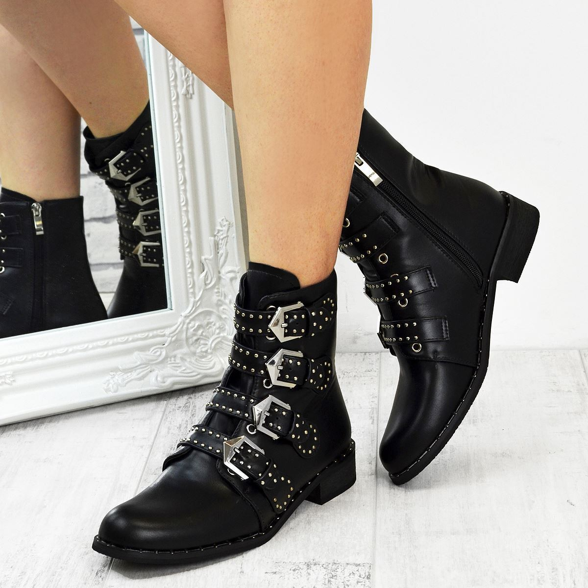 Black Flat Ankle Boots Biker Buckle Studded Punk Goth Womens Ladies Size