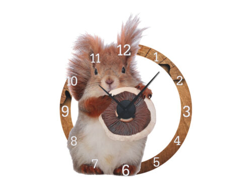 Details about  /Wall Sticker Clock With Clockwork Wall Clock Nursery Squirrel Pils Wood show original title