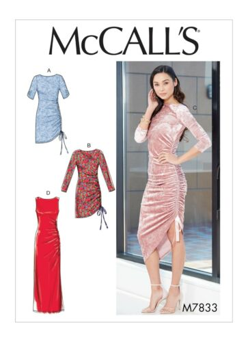 McCalls Easy SEWING PATTERN M7833 Misses Ruched Dresses 6-14 oR 14-22