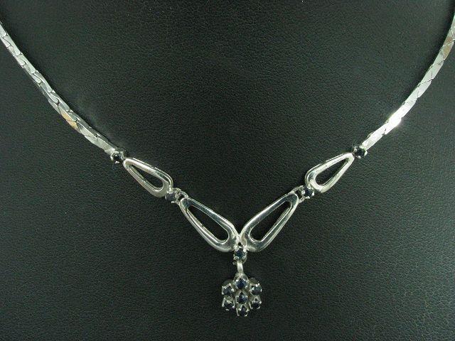 835 silver Collier mit bluespinell Besatz   45,5cm   15,0g