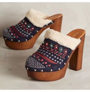 0f56cd601cee3 Image is loading ANTHROPOLOGIE-TERRESTRIAL-CLOGS-MISS-ALBRIGHT-SHOES -EMBROIDERED-BLUE-