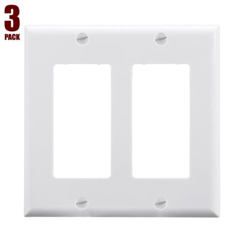 3x 2 Gang Standard Decora Wall Plate Cover Switch Outlet Faceplate Modular White