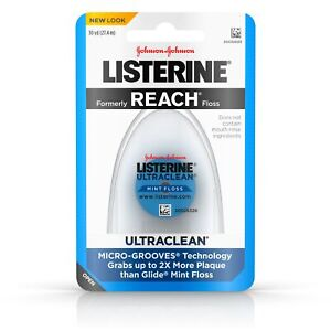 6 Pack Listerine Ultraclean Mint Floss Micro Grooves Technology 30 Yards each
