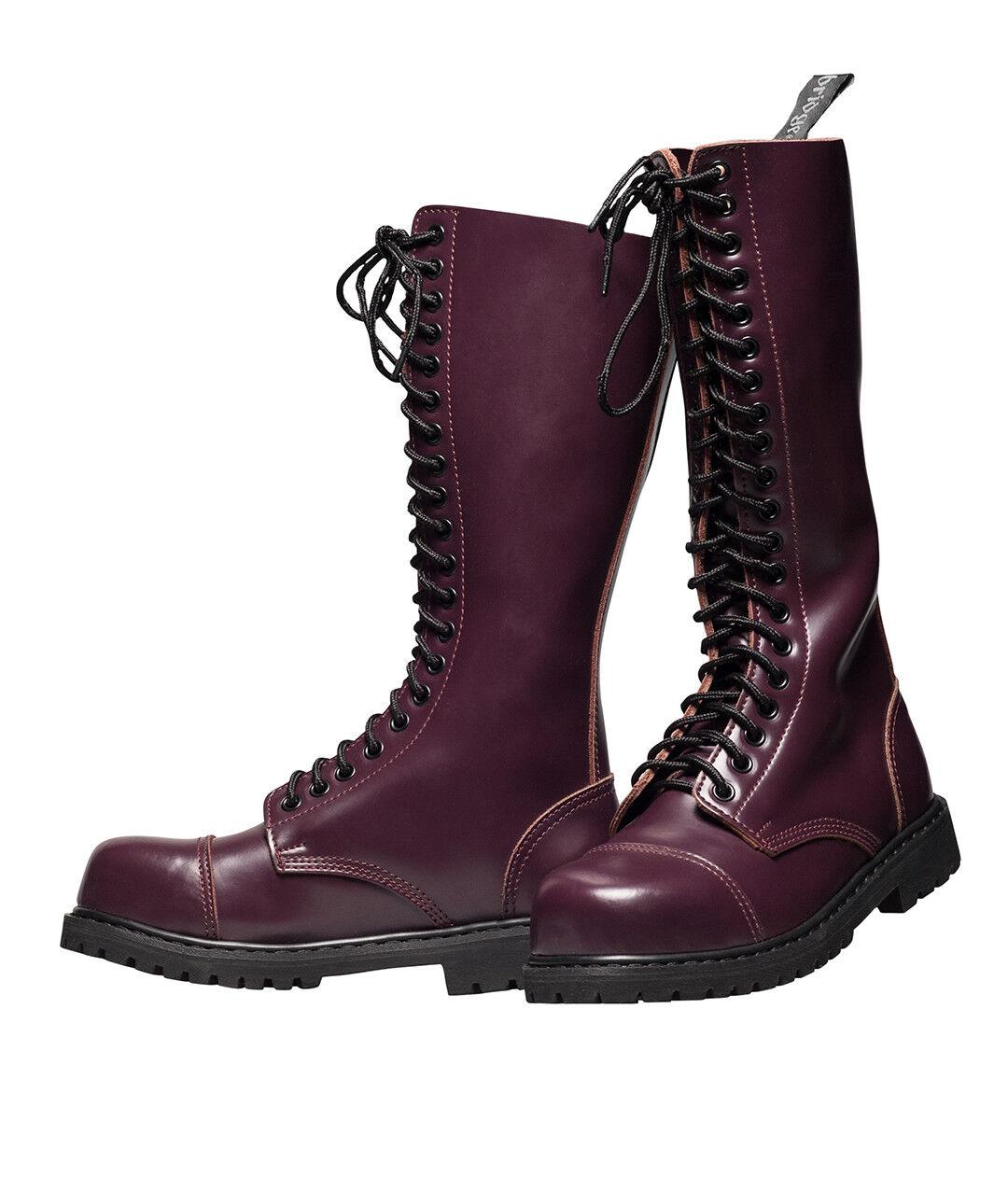 20 fori Ranger Boots Combattimento Stivali Stivali Springer Rangers Bordeaux Rosso Vinaccia