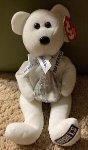 """2006 """"KISSES"""" Ty Hershey's 100 Years Anniversary Bear Beanie Baby 7/7/07 Hugsy"""