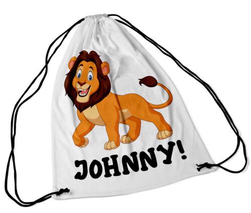 Personalised Drawstring Bag Any Name Lion Swimming School Nursery PE