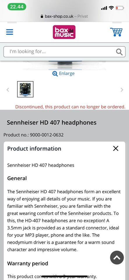 headset hovedtelefoner, Sennheiser, HD 407 Stereo