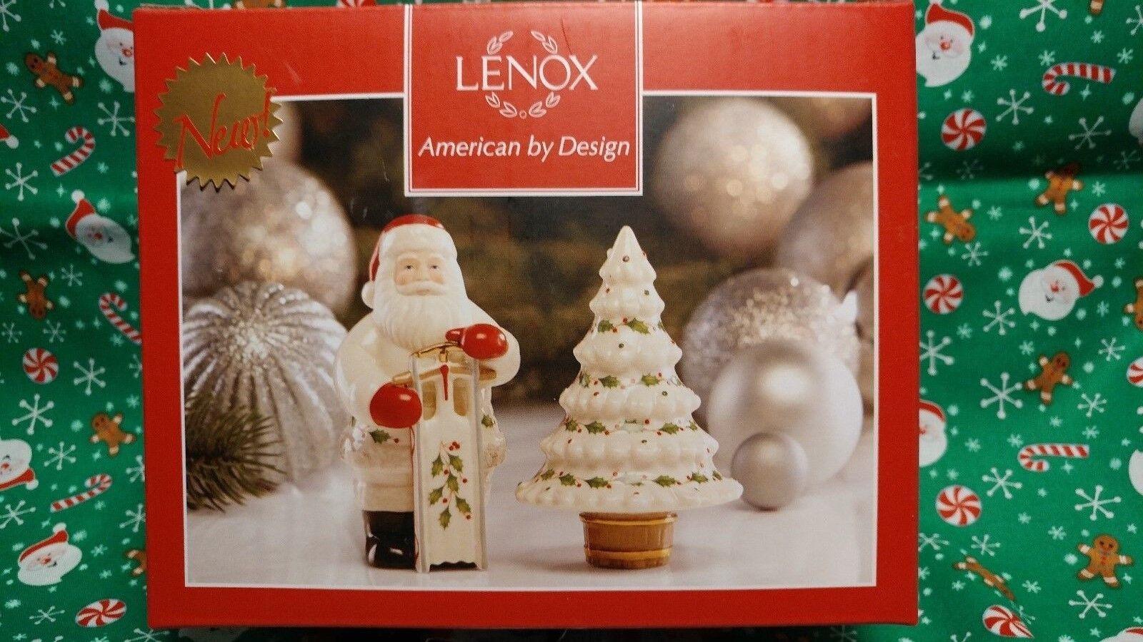 0aa871fa528 Lenox Holiday Santa Christmas Tree Salt and Pepper Shaker Set 869958 ...