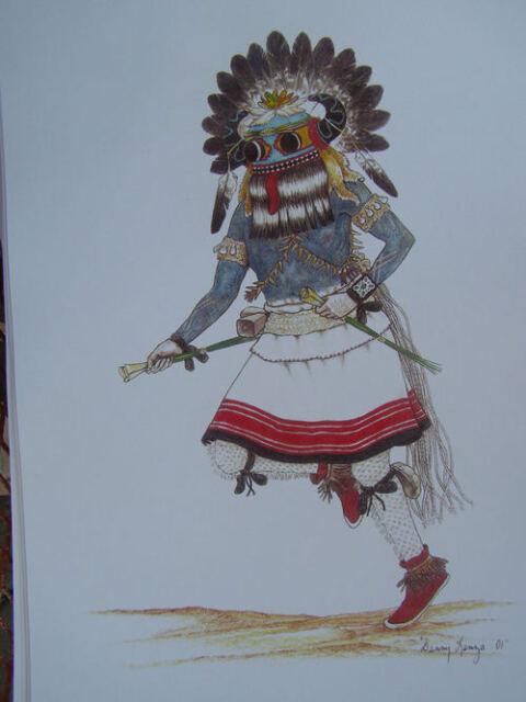 Hopi Kachina print 1 by Danny Lange Southwest art   eBay  Hopi Drawings