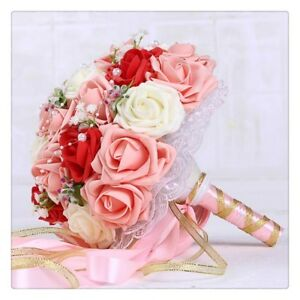 750486af5b 16 Styles Wedding Bouquet Artificial Rose Flower Ribbon Bridesmaid ...