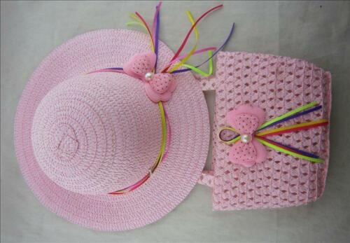 Girls Wide Brim Sun Hat and Bag Set Various Colours,One size