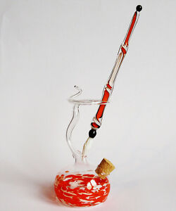 Glasfeder Glasfüller im Set mit farbigen Tintenfass Orange Weiß