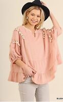 Umgee Pink Bohemian Fashion Poncho Style Top Small Spring 2017