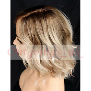 Short Wavy Blonde Full Lace Wigs Bob Style Ombre 8 60 Glueless Lace Front Wigs Ebay