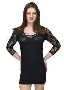 Black-Elegant-Sheer-Patterned-Top-Dress-Mini-Dress-Crossdresser