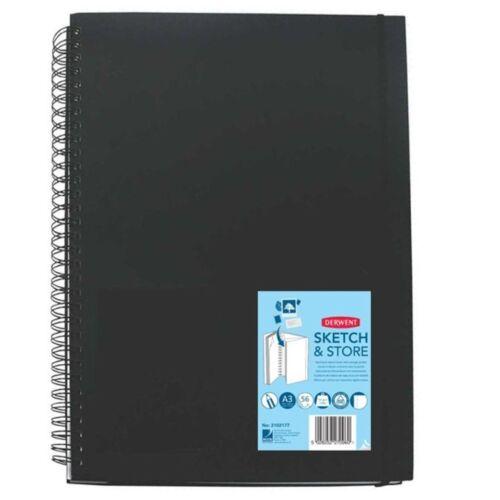3 x Derwent Sketch /& Store A3 Portrait Hard Back Sketch Book Storage Pocket