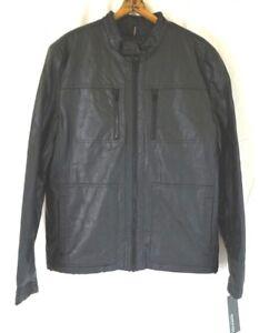 NWT-KENNETH-COLE-REACTION-Men-039-s-Black-Faux-Leather-Moto-Jacket-S-L-XL-2XL