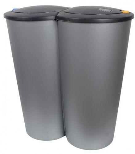 Doppel Abfalleimer Mülleimer Müll Müllsammler Mülltrenner Mülltrennung 2 x 25L